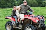 Father and kids on quad bike