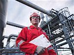 Worker at underground gas storage plant