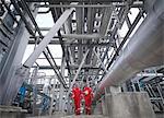 Workers in underground gas storage plant