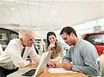 Salesman and customers in car dealership