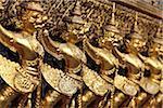 Or statues au Grand Palais, Bangkok Thaïlande