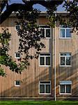 Vue extérieure facade fenêtres, Linden Lodge spécial école pour enfants ayant une déficience visuelle, Wandsworth, Londres, 2004. Architectes : Sprunt
