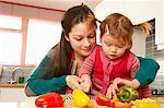 Mère et fille, hacher les légumes
