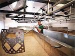 Worker in brewery fermentation room