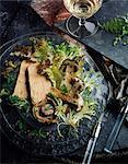 Foie-gras and mushroom salad