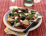 Basil, feta, olive, ham, dried tomato and cucumber salad