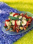 Seeteufel und gegrilltem Gemüse-Spießchen