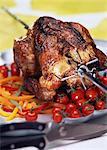Poitrines de poulet sur une brochette