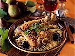 Duck and prune Tajine,cinnamon and semolina