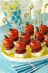 Tintenfisch, Chorizo Wurst und Cherry-Tomaten-appertizers