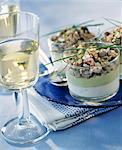 Sardine-Tatar mit Avocado-Creme und Roquefort-Creme