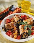 Paupiettes de veau et d'aubergines aux légumes