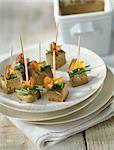 Bouchées de foie gras aux champignons et ciboulette