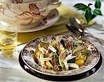 Salade d'artichauts, de pommes de terre, échalote et parmesan