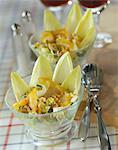 Salade de chicorée, aiglefin et noyer