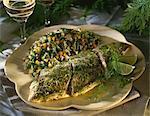 Saumon au vin blanc, citron vert et à l'aneth et semoule aux légumes