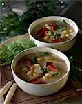 Haricots blancs et soupe de jambon cru