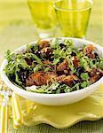 Pan-fried liver and mushroom salad