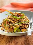 Noddles with tofu and vegetables sauté