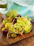 Mixed salad with pesto dressing