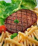 Hamburger steak with chips