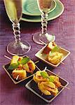 Petites brochettes de quenelle et beignets de Foie gras