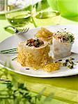 Foie gras roll with pistachios