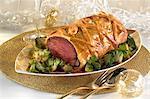 Roast beef in pastry crust ,foie gras sauce