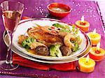 Sauteed guinea-fowl with Dublin Bay prawns