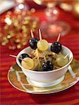 Grape and foie gras appetizers