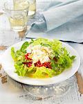 Morue-sel, poivre rouge et salade de laitue