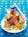 Saumon mariné aux tomates