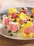 Ham rolls stuffed with tuna and potato salad