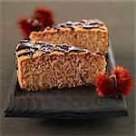 Portions of chestnut cake