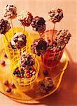 Puff rice and hazelnut lollipops