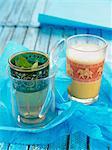 Iced mint tea and Indian -style iced tea