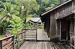Longue maison traditionnelle, Sarawak Cultural Village, Sarawak, Bornéo, Malaisie