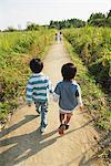 Children on Rural Walkway