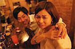 Man touches annoyed woman
