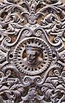 France, Tarn, Sorèze.  Intricate metal door ornamentation, Sorèze.