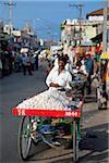 India, Mysore. A man sells garlic in a busy Mysore street.
