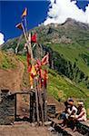 Himachal Pradesh, Indien: Chamba Tal. Eingebettet in Heimatkunde Gaddi (halb-nomadischen Hirten), ist der bescheidene Kailang Tempel ein wichtiger Halt auf der Spur, die Verknüpfung von Kugti Dorf, Kugti Pass und Beweidung der Wiesen von Lahaul Sommer.