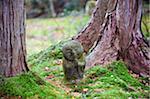 Asie, Japon. Kyoto, Sanzen dans le temple (986), Pierre statue de moine en prière