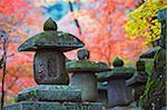 Asie, Japon. Kyoto, Sagano, Nison dans le Temple (Nisonin), (834), Pierre lanterne parmi les feuilles d'automne rouges