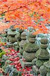 Asie, Japon. Kyoto, Sagano, Arashiyama, Adashino Nenbutsu dera temple, lanternes en pierre