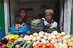 Fruit and vegetable vendors at market, Inhambane, Mozambique