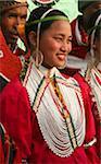 Myanmar, Burma, Naga Hills.  A pretty Naga girl celebrating the Naga New Year Festival in Leshi village.
