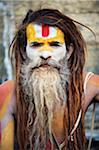 Asien, Nepal, Kathmandu, Kathmandu-Tal, Sadhu an hinduistischen Wallfahrtsort Pashupatinath