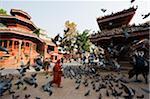 Asia, Nepal, Kathmandu, Kathmandu Valley, Chaysin Dega temple (1649), Durbar Square, pigeons