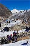 Asie, Népal, Himalaya, Parc National de Sagarmatha, Solu Khumbu région de l'Everest, du patrimoine mondial de l'Unesco, Machherma, les randonneurs sur le sentier enneigé avec Cho Oyu derrière